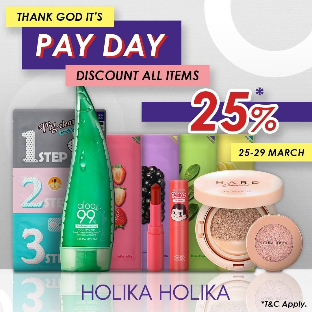 Holika Holika Promo PayDay, Diskon 25% Untuk Semua Item