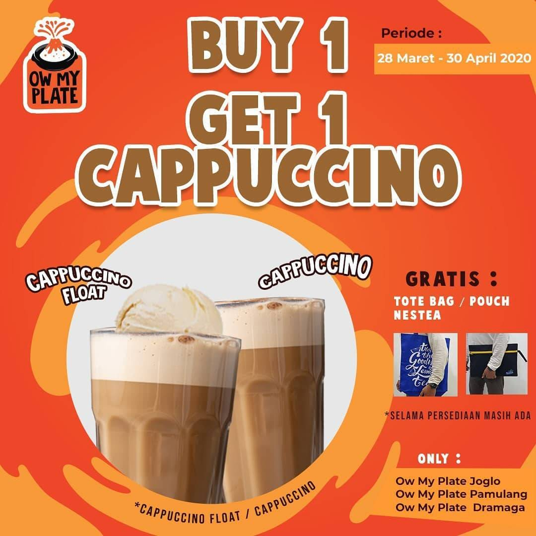 Diskon OwMyPlate Promo Buy 1 Get 1 Free Cappuccino