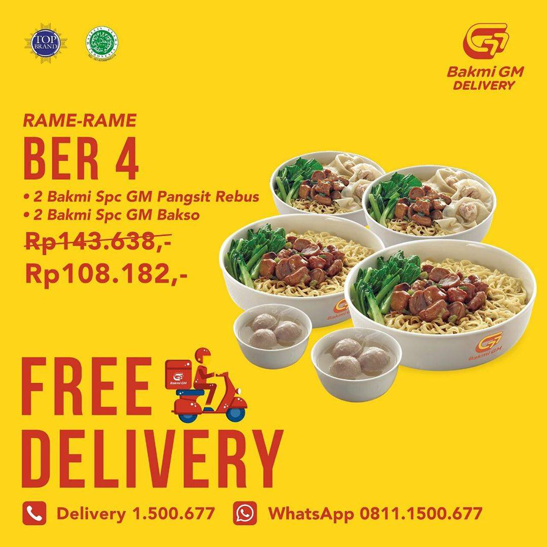 Bakmi GM Promo Paket Rame - Rame Berempat Cuma Rp. 108.182 + Free Delivery