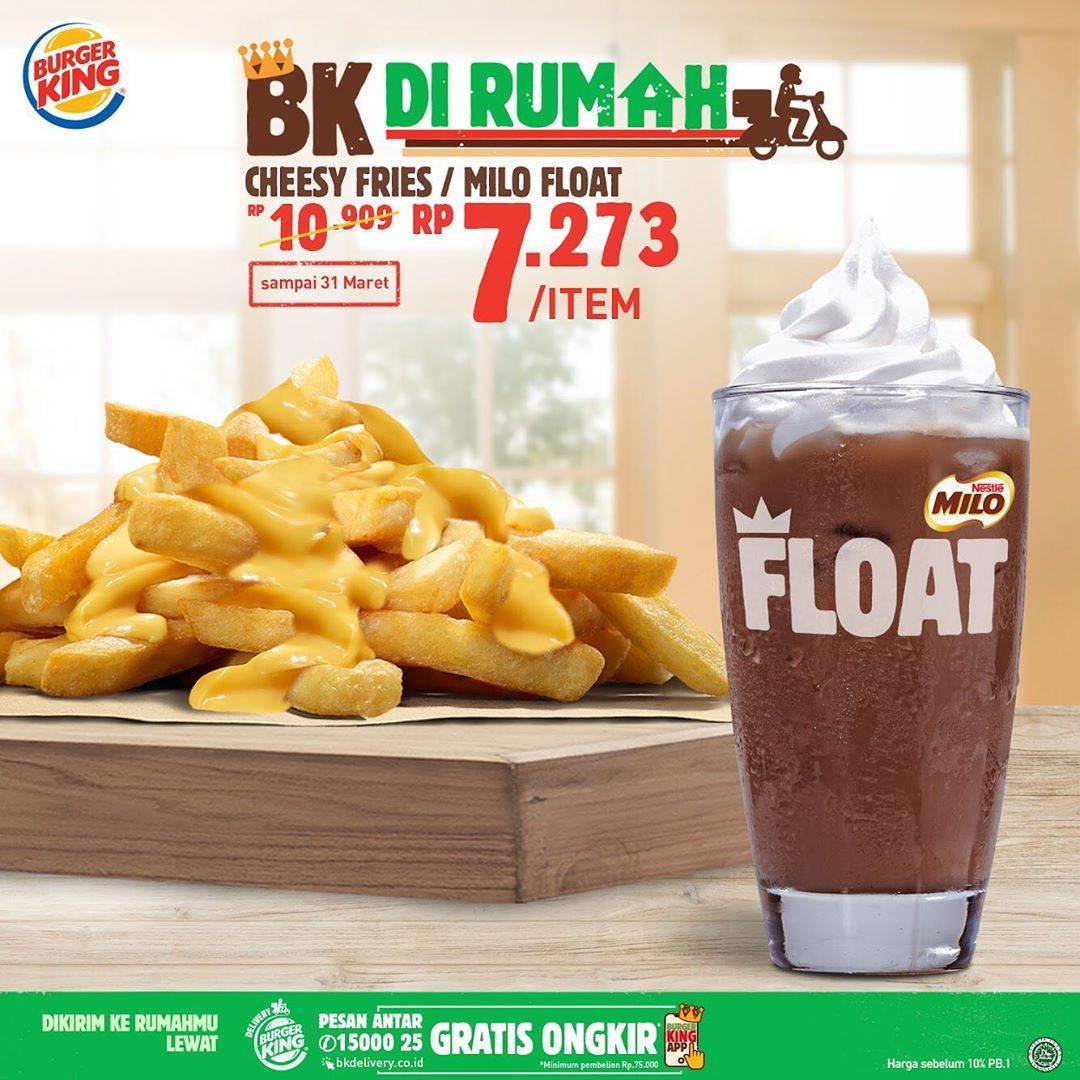 Burger King Promo Menu Burger King Di Rumah Harga Mulai Rp. 7.273 Pemesanan Via GrabFood/GoFood