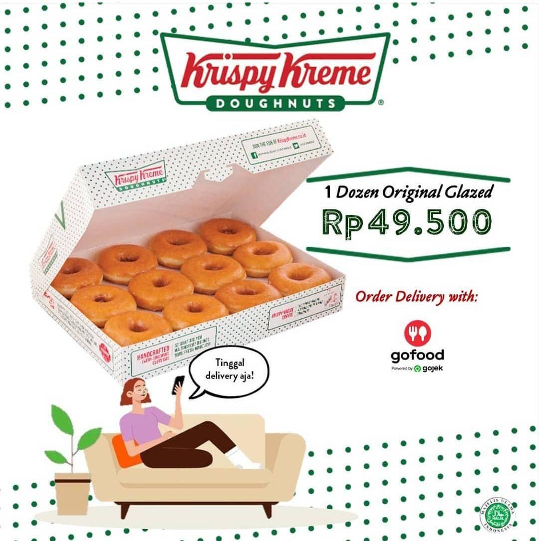 Krispy Kreme Promo 1 Dozen Original Glazed Hanya Rp. 49.500 Pembelian Via GoFood App