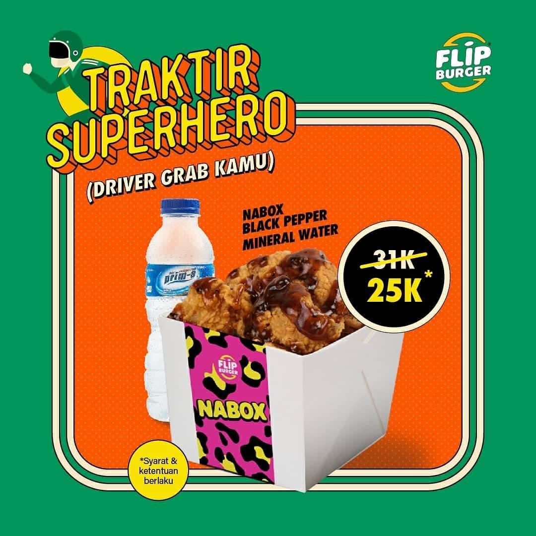Flip Burger Promo Traktir Driver Grab, Nabox Blackpepper + Mineral Water Cuma Rp. 25.000