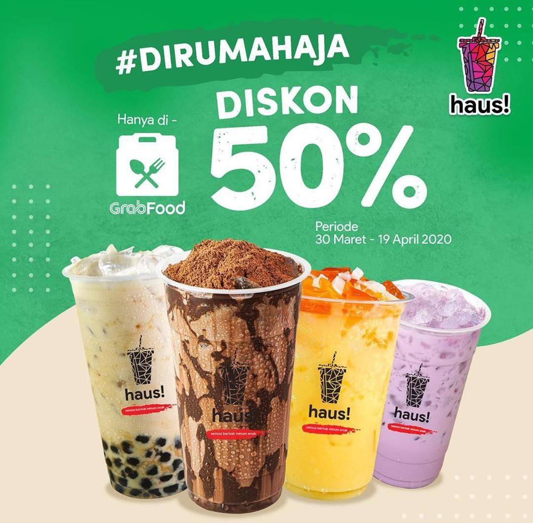 Haus! Indonesia Promo Diskon 50% Untuk Semua Varian Minuman Pembelian Via GrabFood