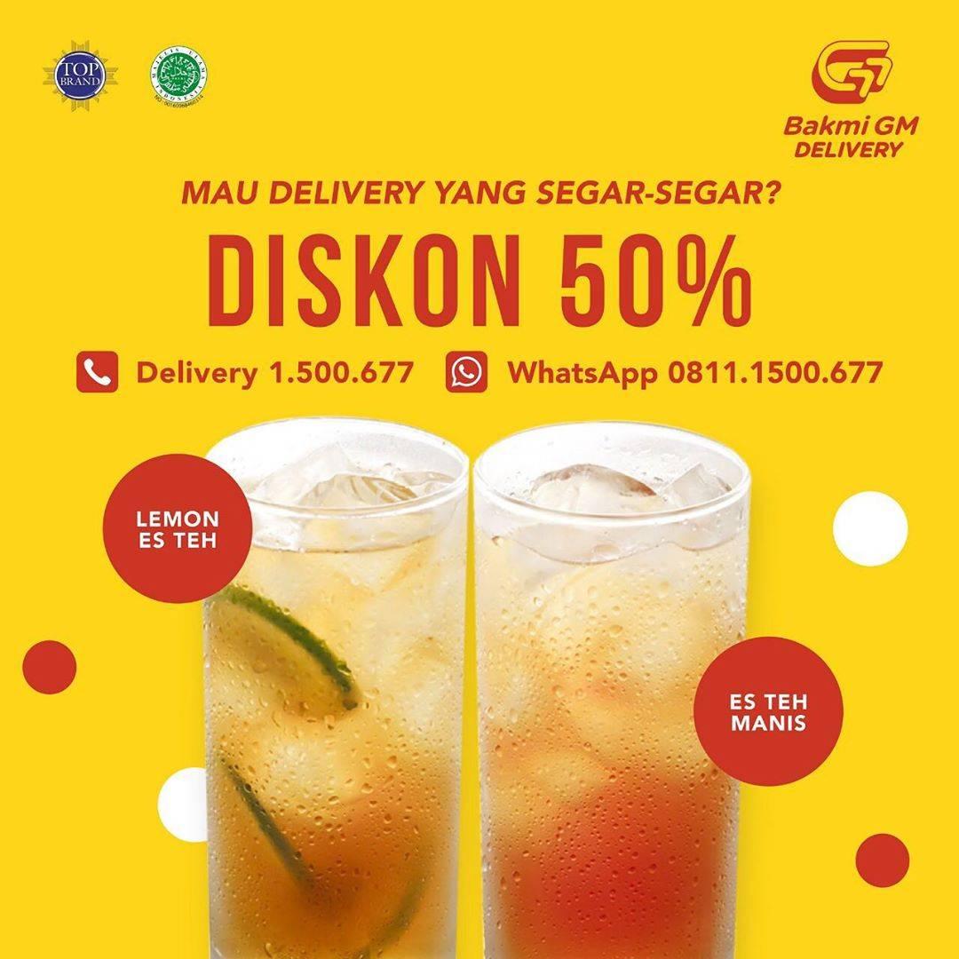 Bakmi GM Promo Diskon 50%  Untuk es Teh manis & Lemon Es Teh Dengan Pembelian Delivery