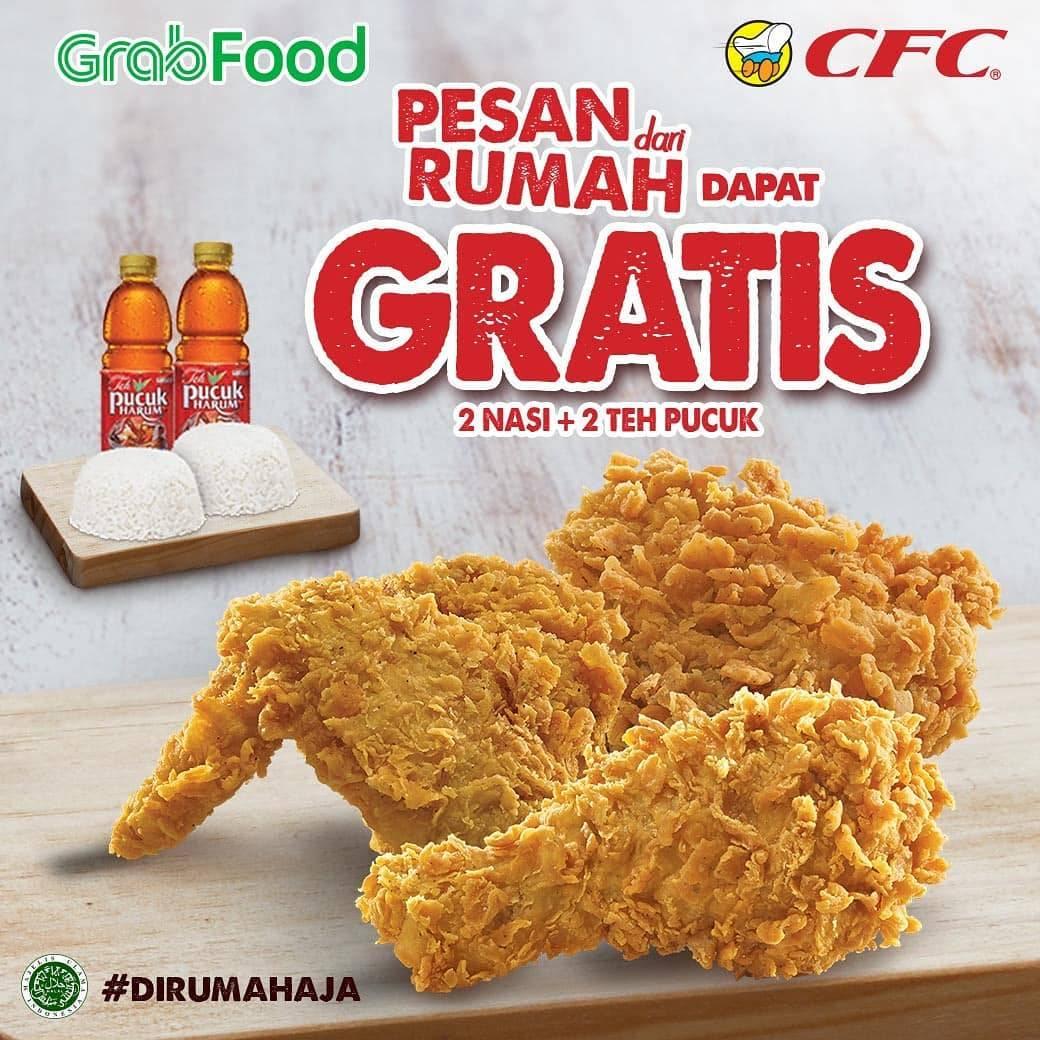 CFC Promo Paket Grab Signature, Gratis 2 Nasi + 2 Teh Pucuk Harum Setiap Pembelian 3 Pcs Ayam