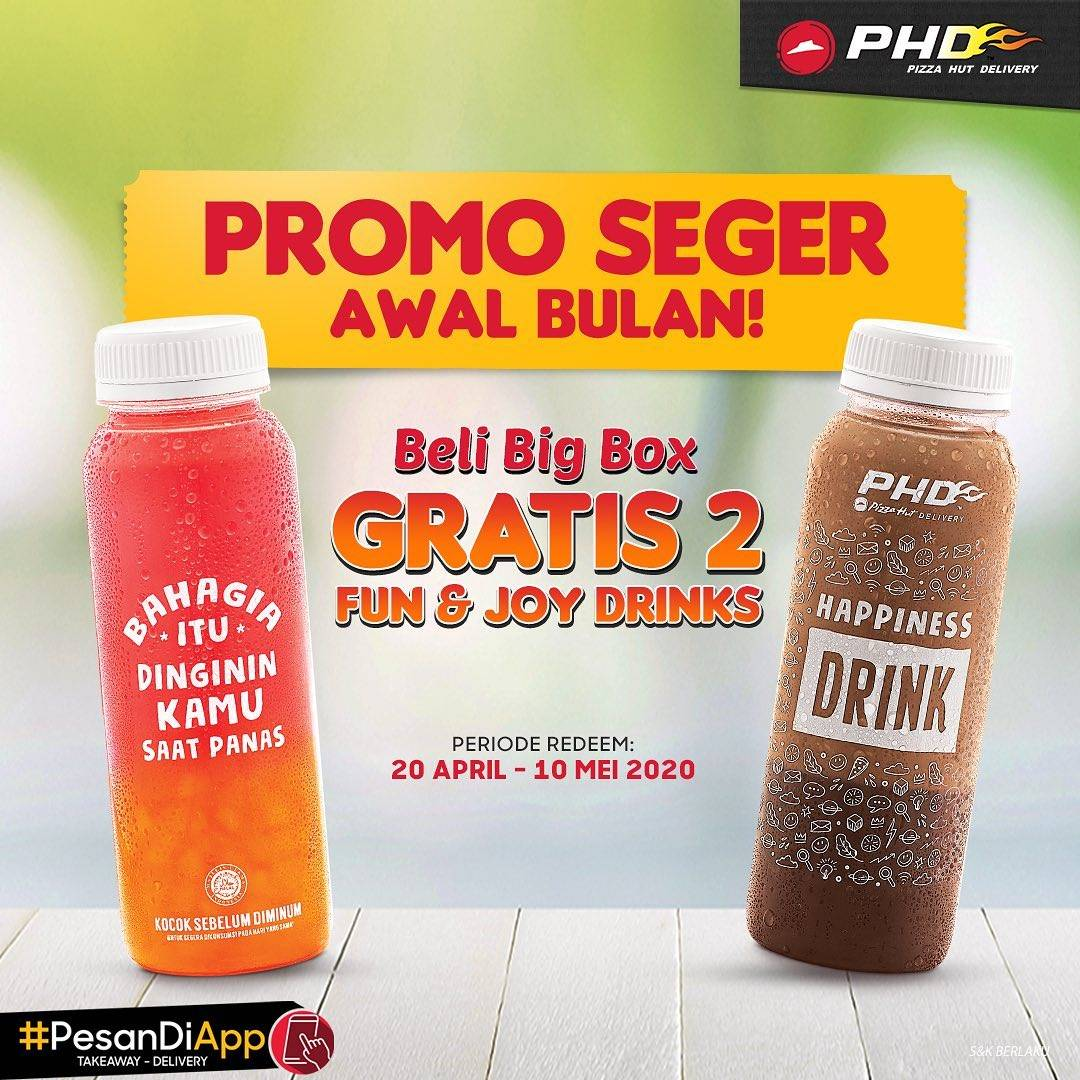 PHD Promo Kupon Gratis 2 Fun & Joy Drinks Setiap Pembelian Big Box Via PHD App/Website