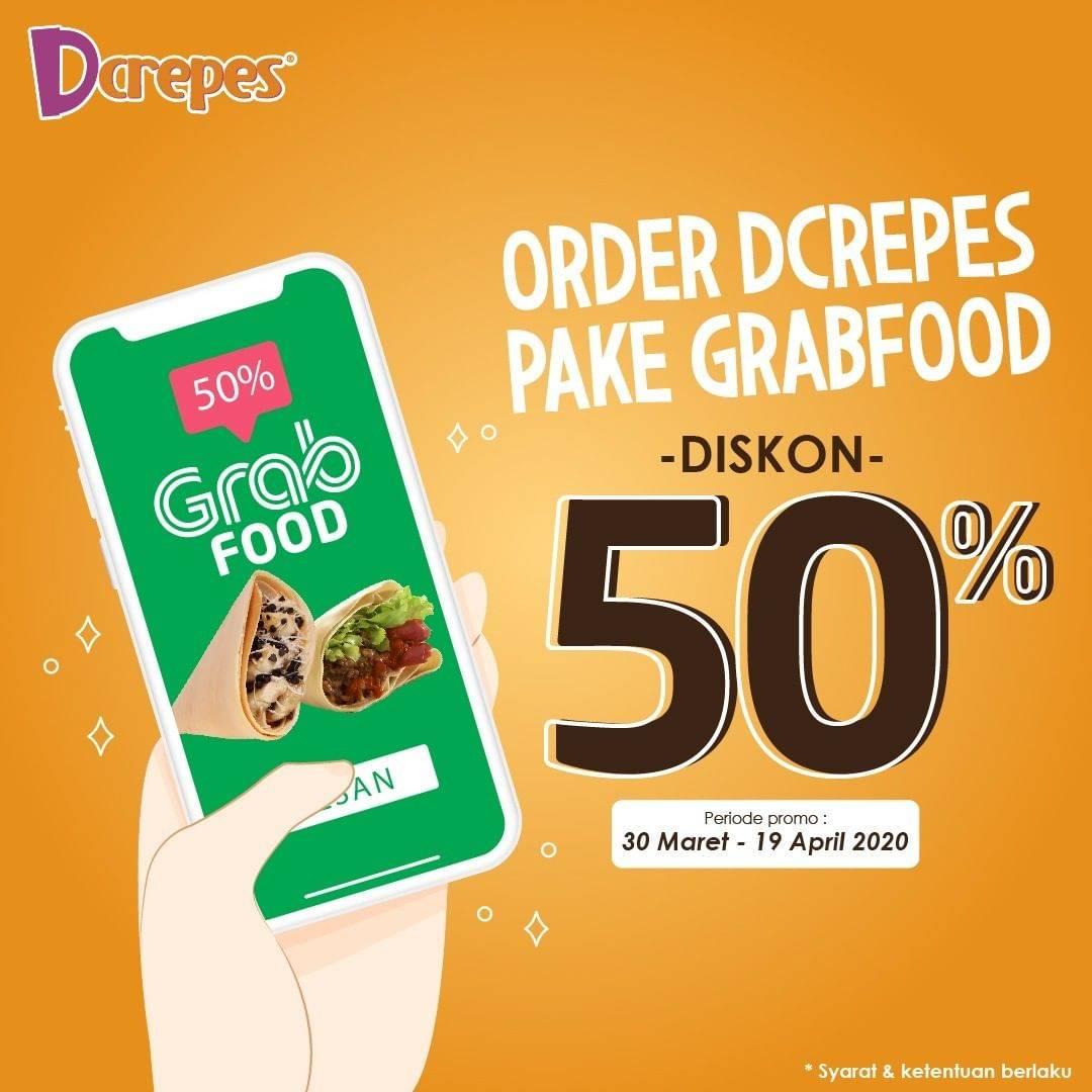 Dcrepes Promo Diskon 50% Untuk Semua Menu Dengan Pemesanan Via GrabFood