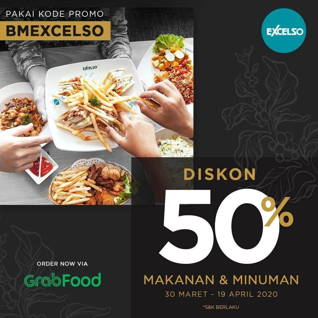 Excelso Promo Diskon 50% Untuk Semua Menu Pembelian Via GrabFood