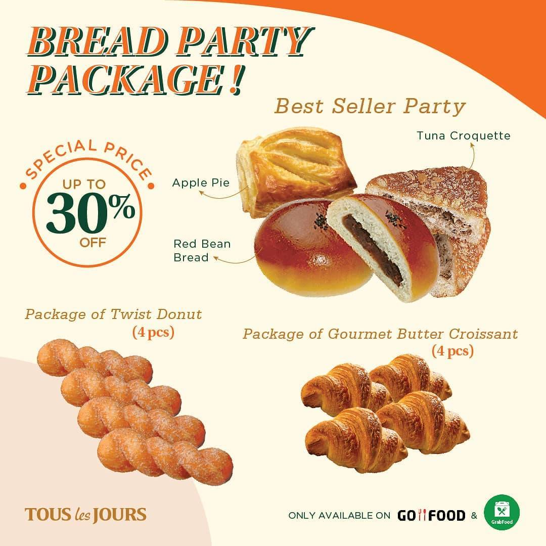 TOUS les JOURS Promo Discount 30% Off On Selected Packages For Online Order Through GoFood & GrabFoo
