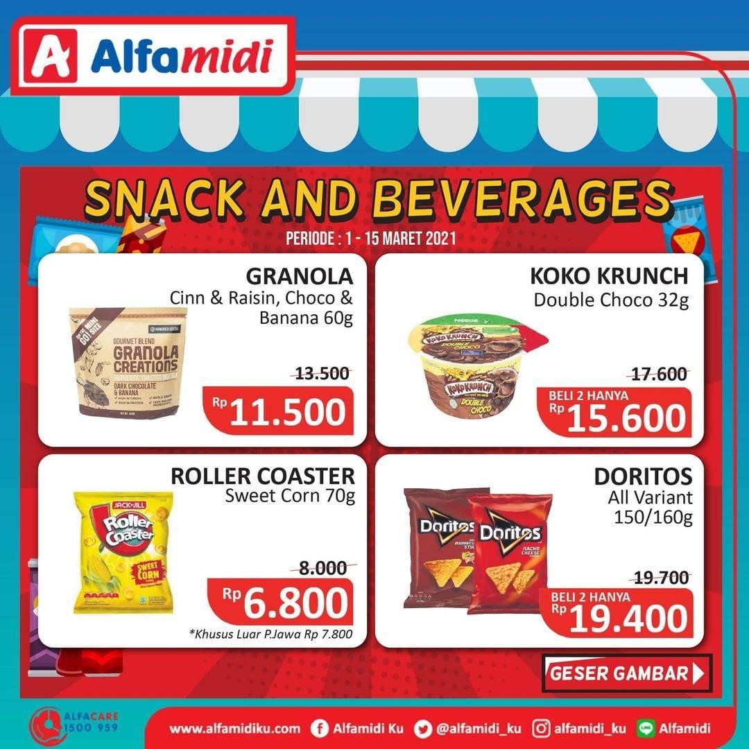 Diskon Katalog Promo Alfamidi Snack & Drink Periode 1 - 15 Maret 2021
