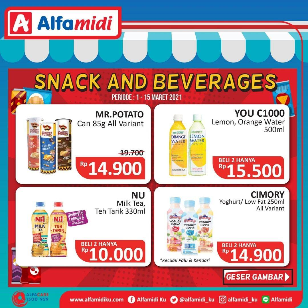 Promo diskon Katalog Promo Alfamidi Snack & Drink Periode 1 - 15 Maret 2021
