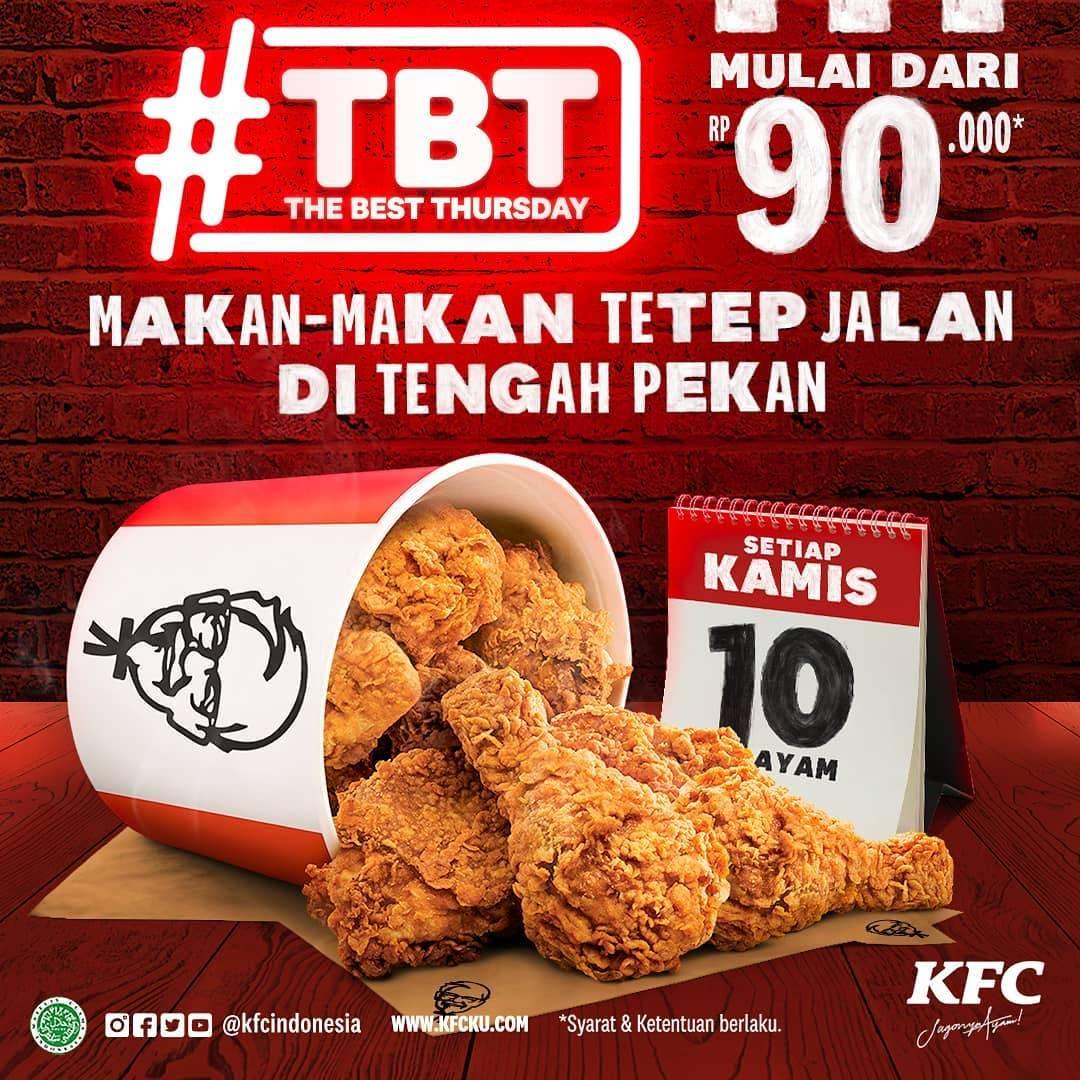 Diskon KFC Promo The Best Thursday 10 Potong Ayam Hanya Rp. 90.000