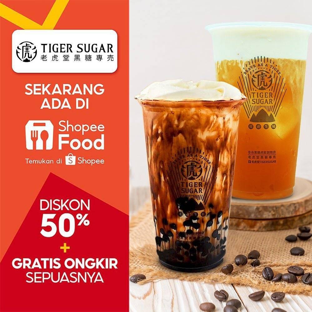 Diskon Tiger Sugar Diskon 50% + Gratis Ongkir Dengan Shopee Food