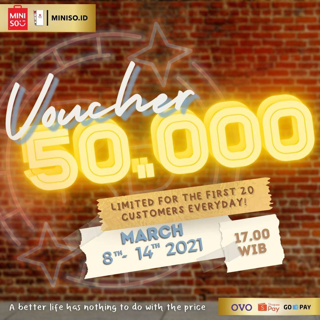 Diskon Miniso Voucher Discount Rp. 50.000