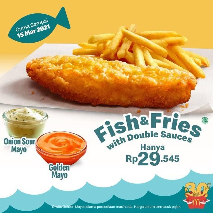 Diskon McDonalds Promo fish & Fries With Double Sauces Hanya Rp. 29.545