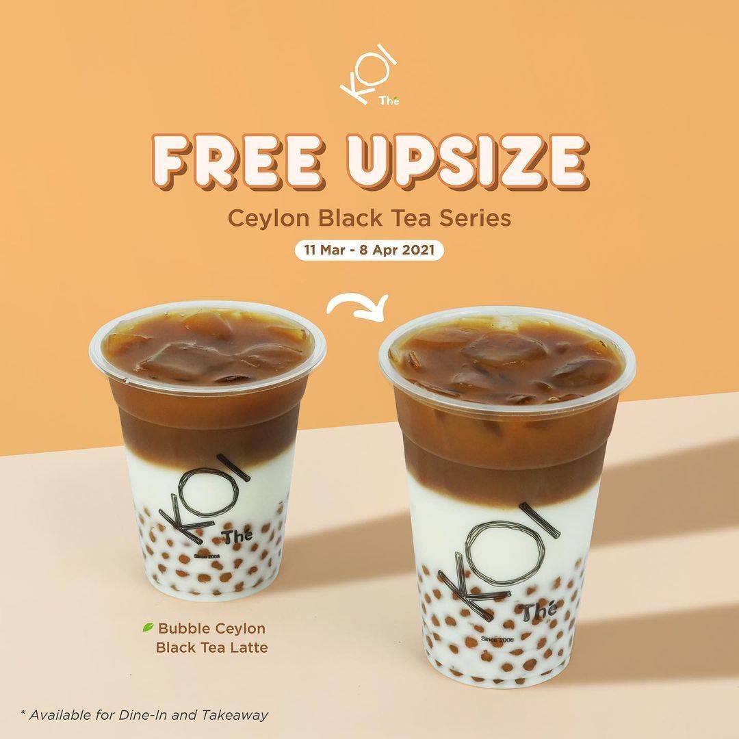 Promo diskon Koi Free Upsize For Ceylon Black Tea Series