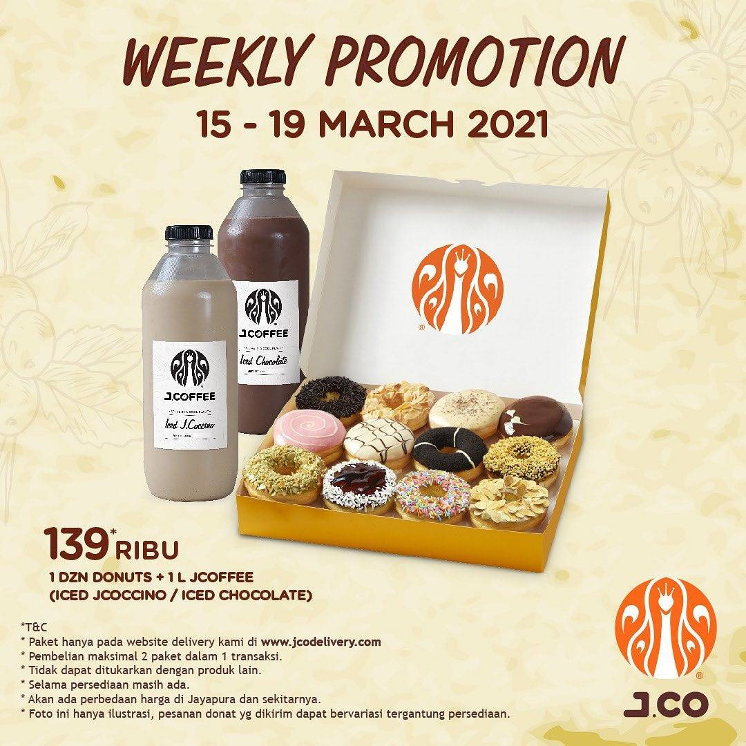 Diskon JCO Weekly Promotion 1 Dzn Donuts + 1L JCoffee Only For Rp. 139.000