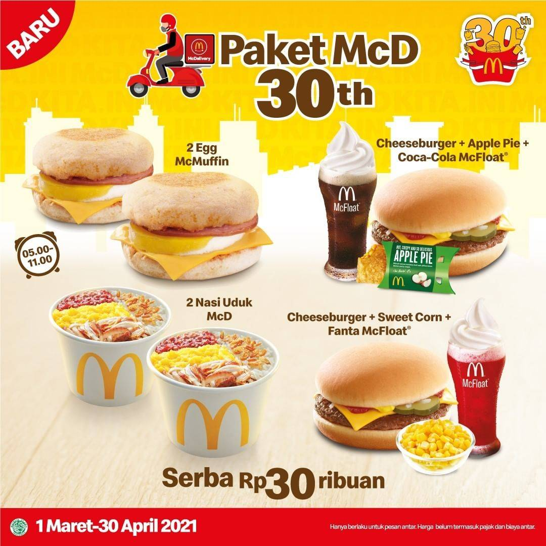 Diskon McDonalds Paket McD 30th Serba Rp. 30.000