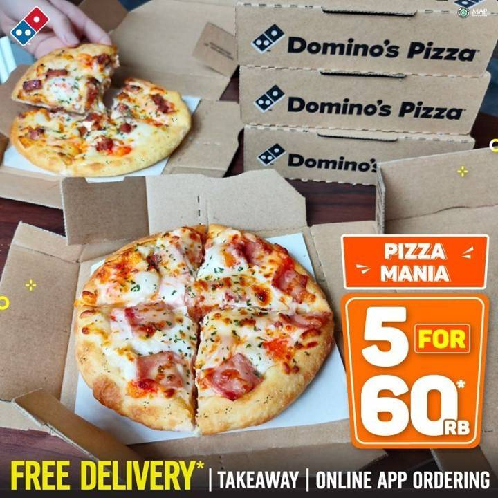 Diskon Domino's Pizza Pizza Mania 5 For Rp. 60.000 + Cashback 60% Shopeepay