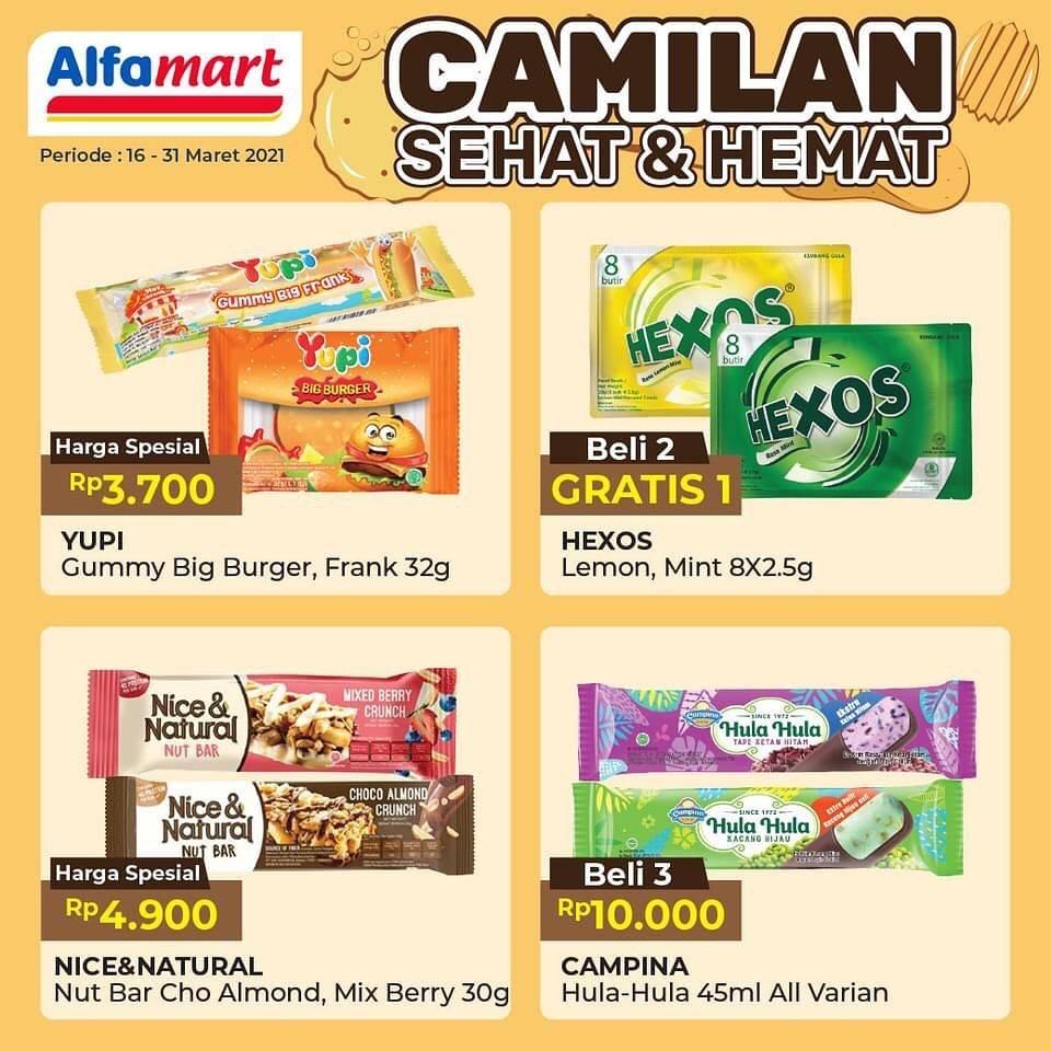 Promo diskon Katalog Promo Alfamart Camilan Sehat & Hemat Periode 16 - 31 Maret 2021