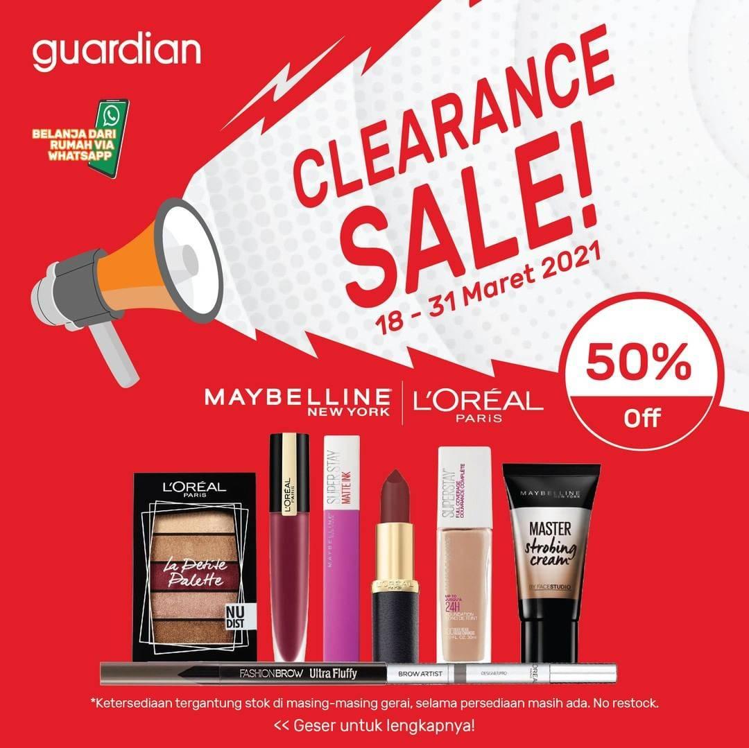 Diskon Katalog Promo Guardian Clearance SALE 50% Periode 18 - 31 Maret 2021