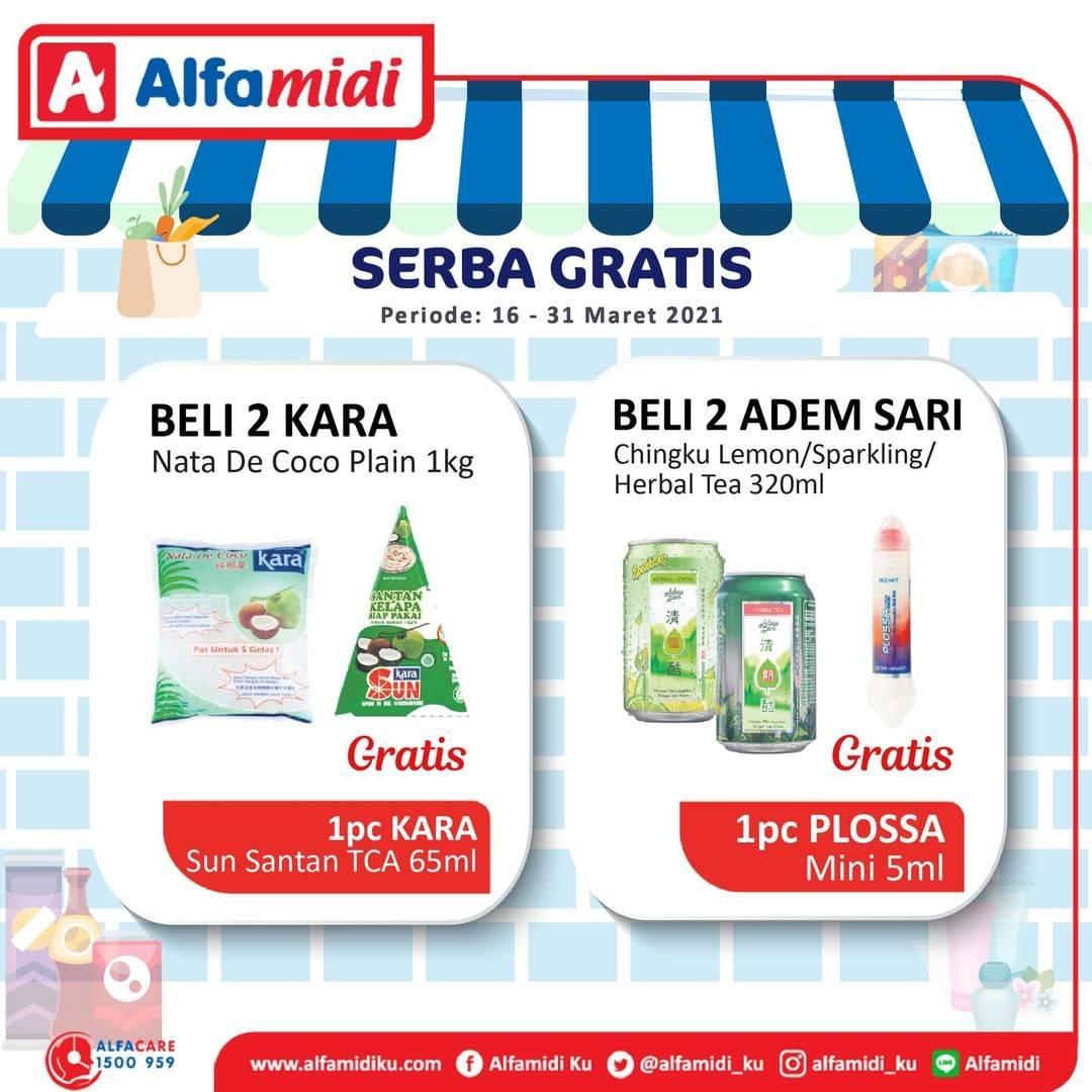 Promo diskon Katalog Promo Alfamidi Serba Gratis Periode 16 - 31 Maret 2021