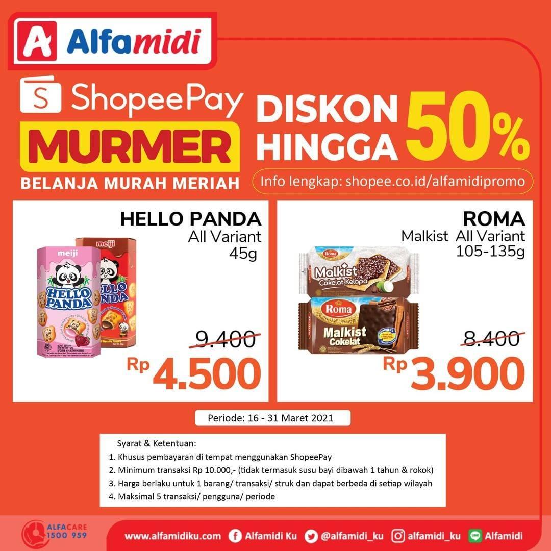 Diskon Katalog Promo Alfamidi Shopeepay Murmer 50% Periode 16 - 31 Maret 2021