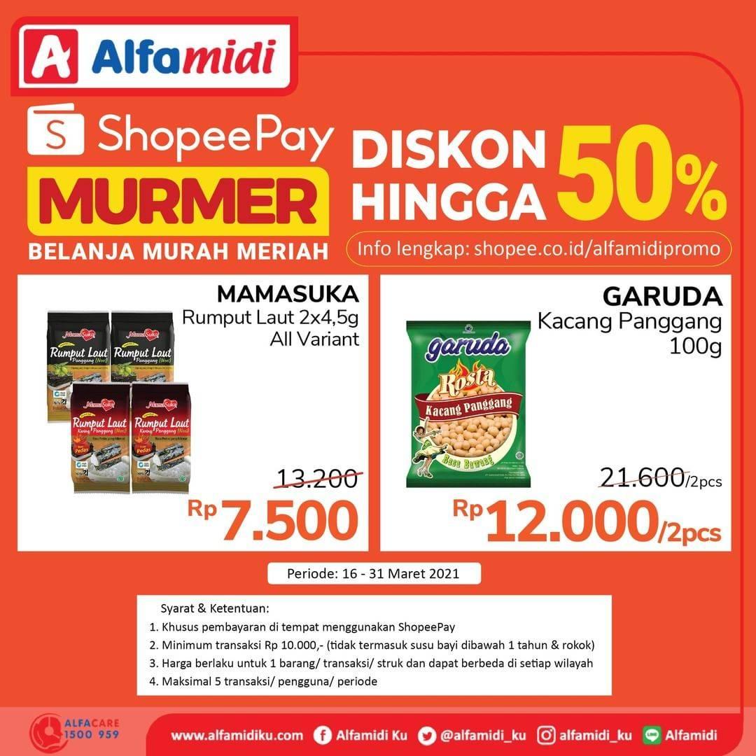 Promo diskon Katalog Promo Alfamidi Shopeepay Murmer 50% Periode 16 - 31 Maret 2021