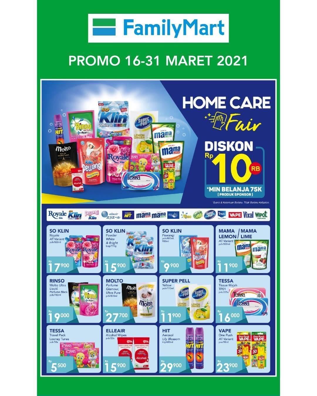 Diskon Katalog Promo Familymart Home Care Fair Periode 16 - 31 Maret 2021