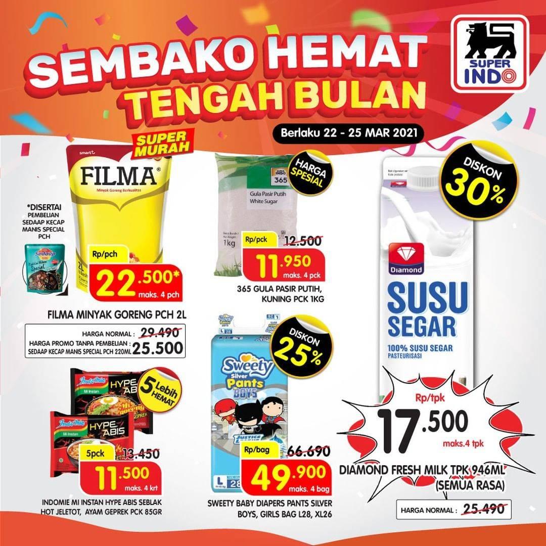 Diskon Katalog Promo Superindo Sembako Hemat Tengah Bulan Periode 22 - 25 Maret 2021