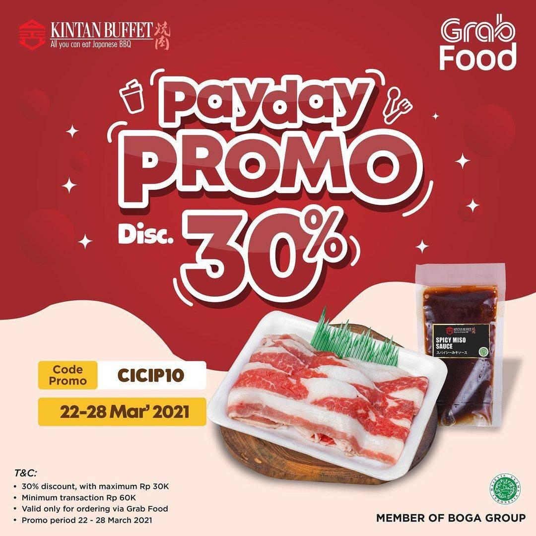 Promo diskon Kintan Buffet Payday Promo Discount 30% Off On GrabFood