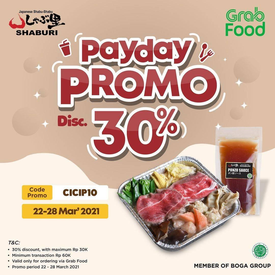Promo diskon Shabu - Shaburi Payday Promo Discount 30% Off On GrabFood