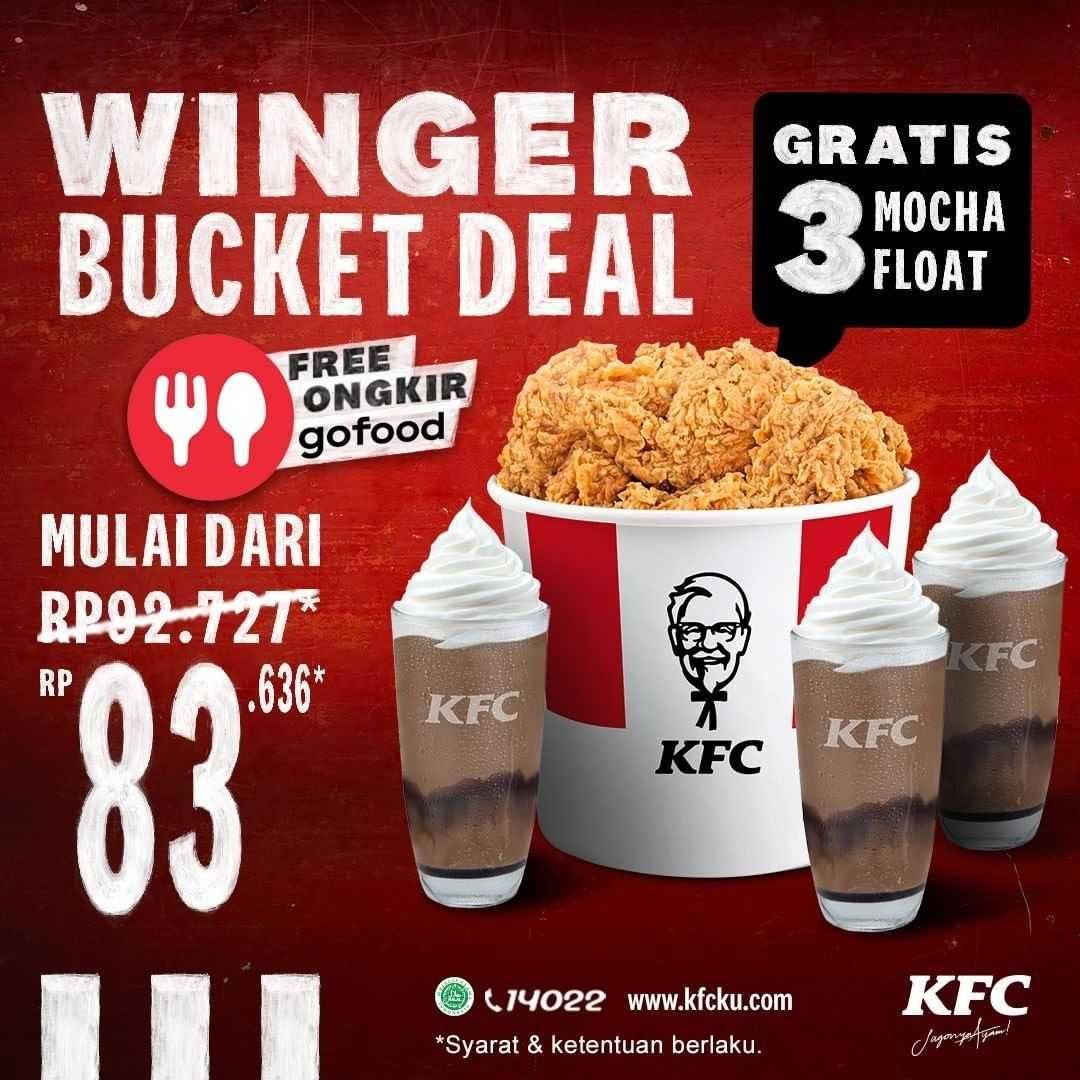 Diskon KFC Winger Bucket Deal Hanya Rp. 83.636 + Free Ongkir Dengan GoFood