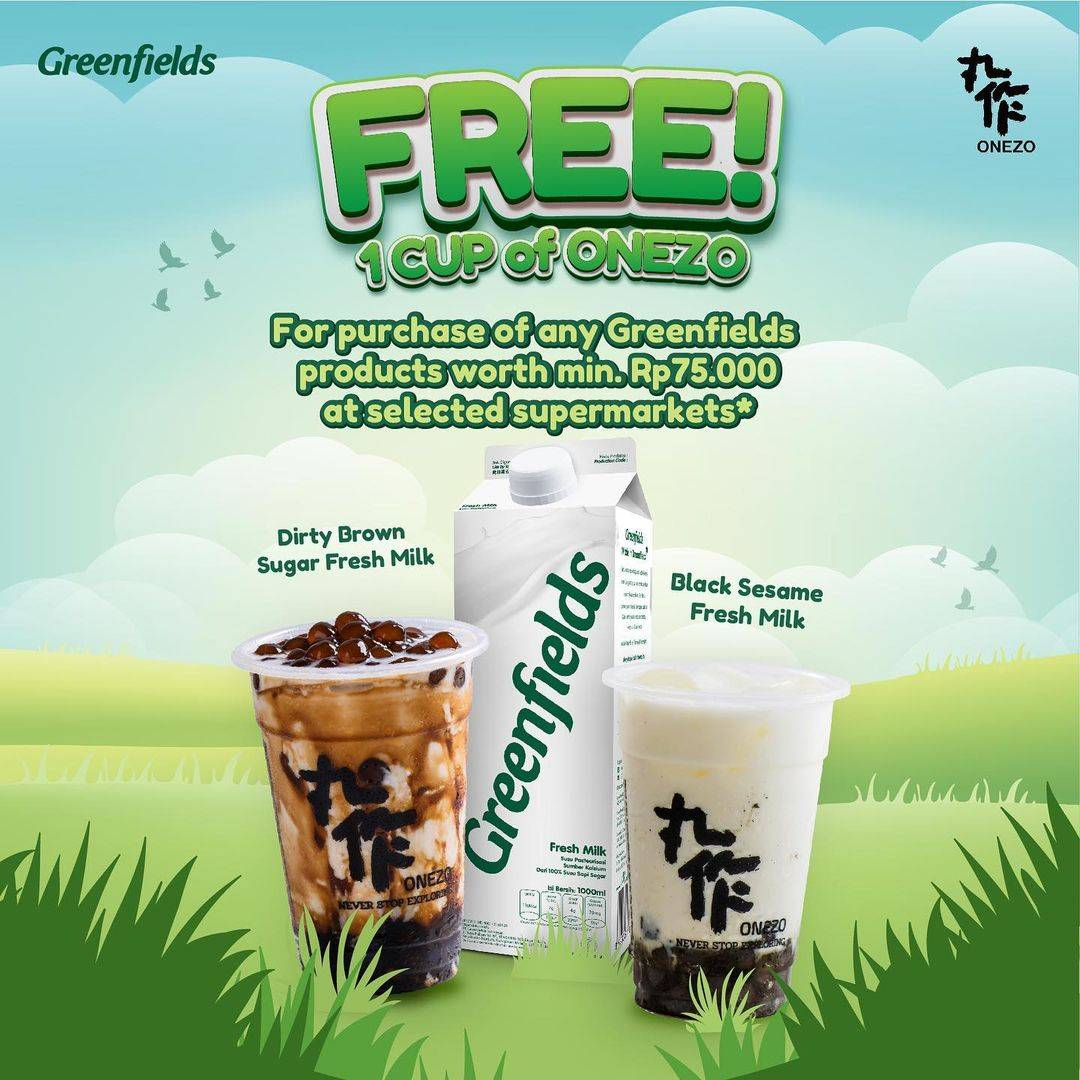 Diskon Onezo x Greenfields Get Free 1 Cup Onezo