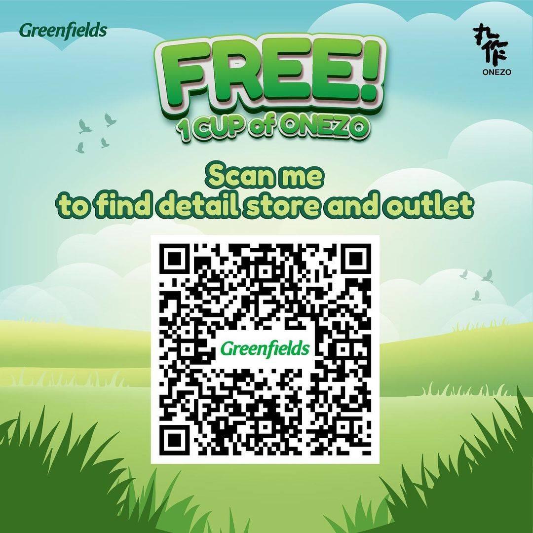 Promo diskon Onezo x Greenfields Get Free 1 Cup Onezo