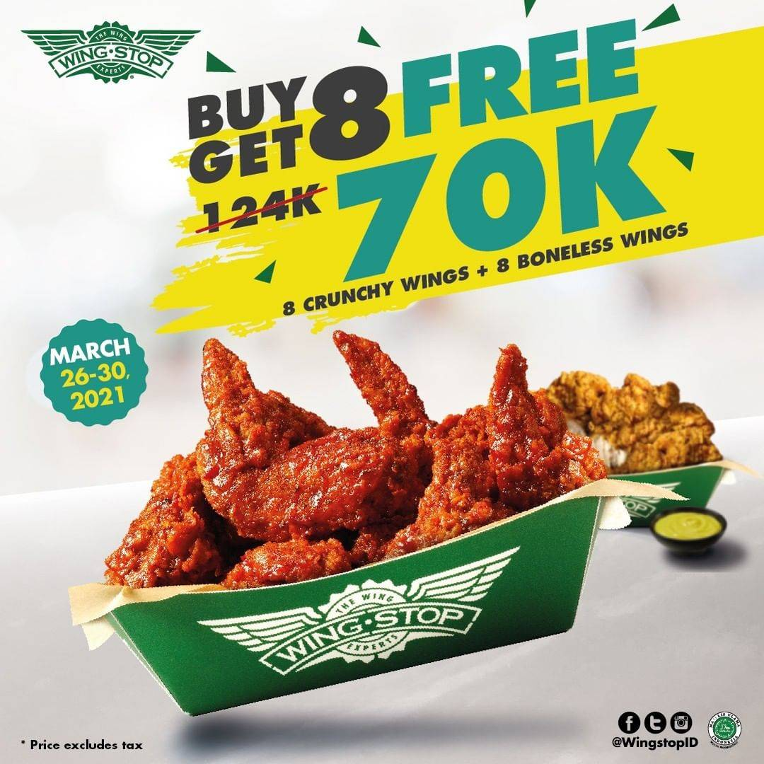 Diskon Wingstop Buy 8 Crunchy Wings Get 8 Free Boneless Wings