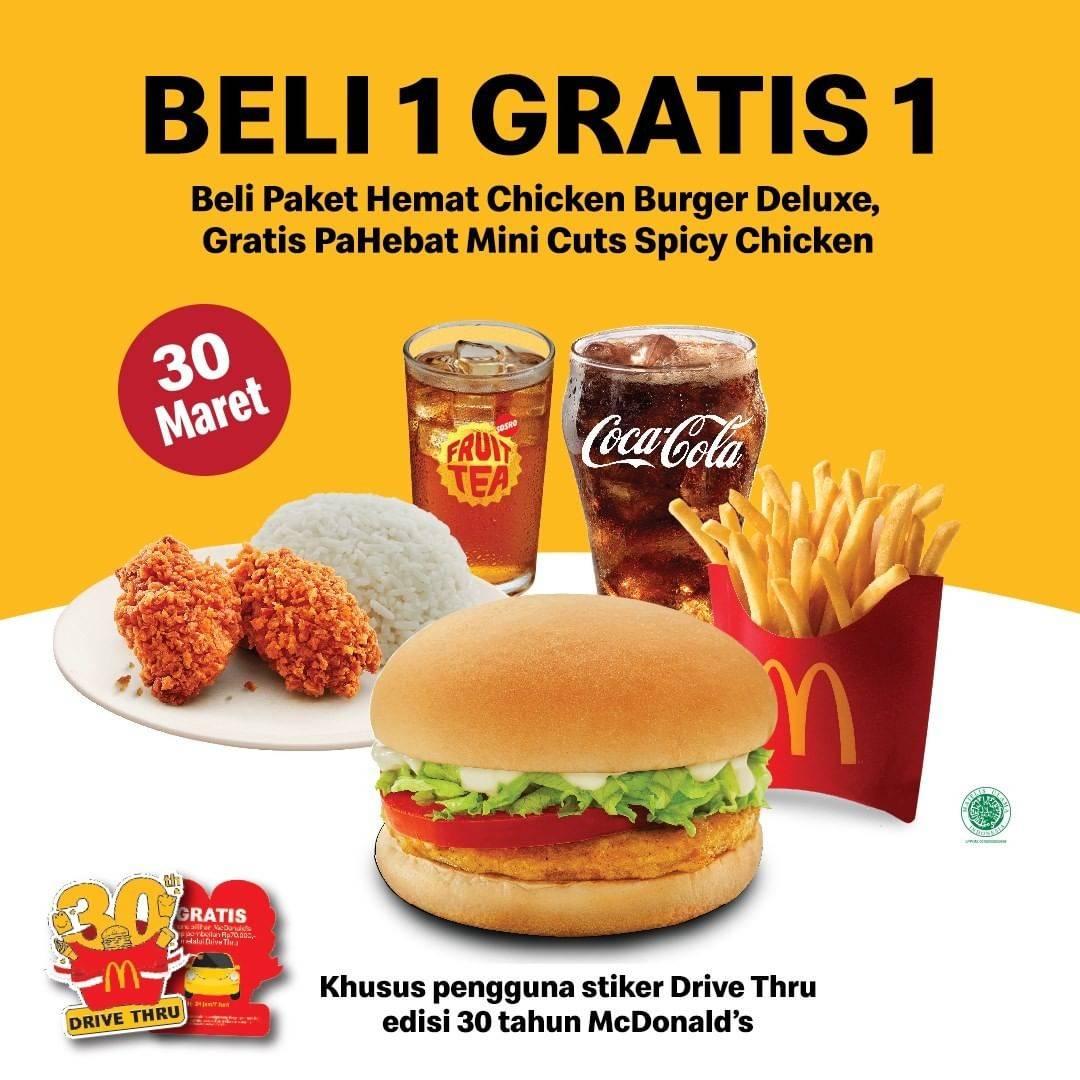 Diskon McDonalds Beli 1 Paket Hemat Chicken Burger DEluxe  Gratis 1 Pahebat
