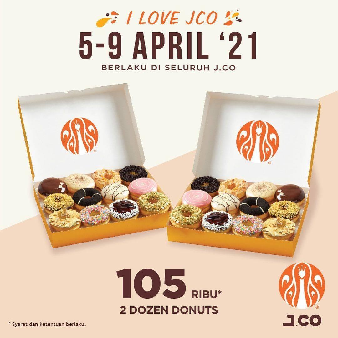 Diskon JCO Promo I Love JCO 1 Dzn Donuts + 1 Beverages + 1 JCool Hanya Rp. 105.000