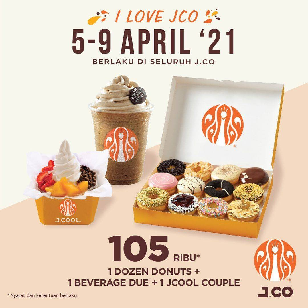 Promo diskon JCO Promo I Love JCO 1 Dzn Donuts + 1 Beverages + 1 JCool Hanya Rp. 105.000