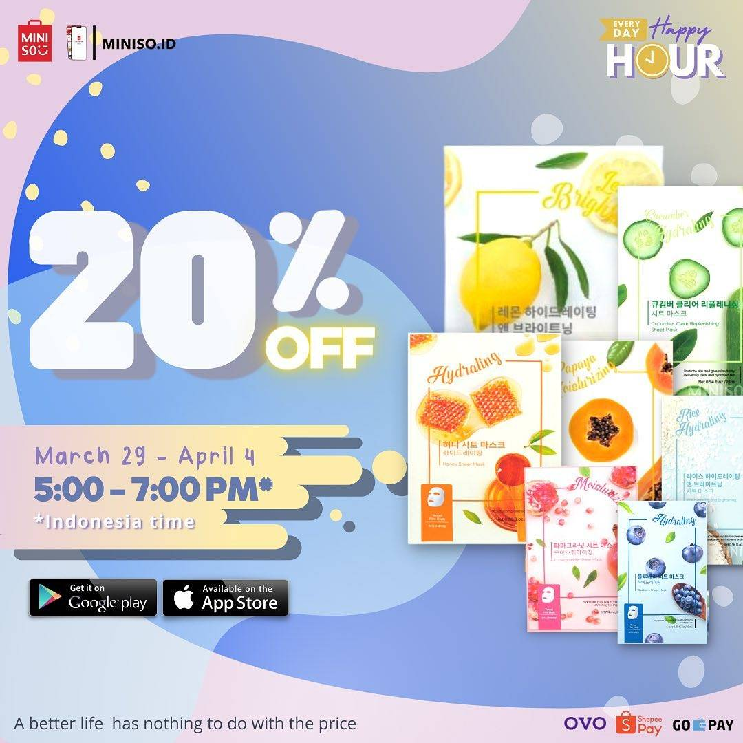 Diskon Miniso Discount 20% Off On Face Mask