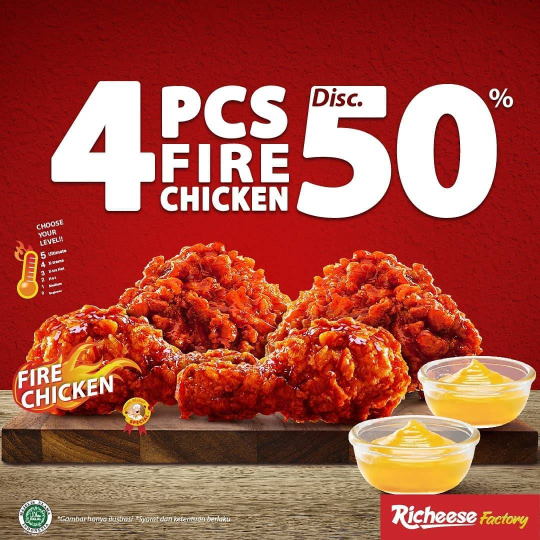 Diskon Richeese Factory 4 Pcs Fire Chicken Discount 50% Off