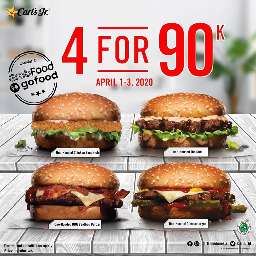 Carls Jr Promo 4 Burgers For Rp. 90.000