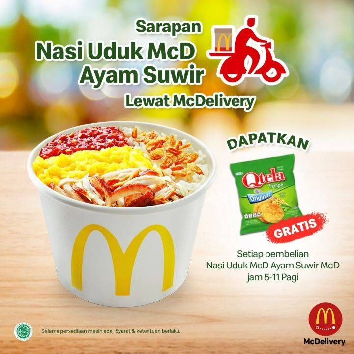 McDonalds Promo Gratis Qtela Tempe Setiap Pembelian Nasi Uduk Ayam Suwir