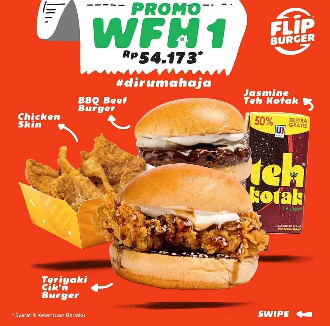 Flip Burger Promo Harga Spesial Paket Work From Home Cuma Rp. 54.173