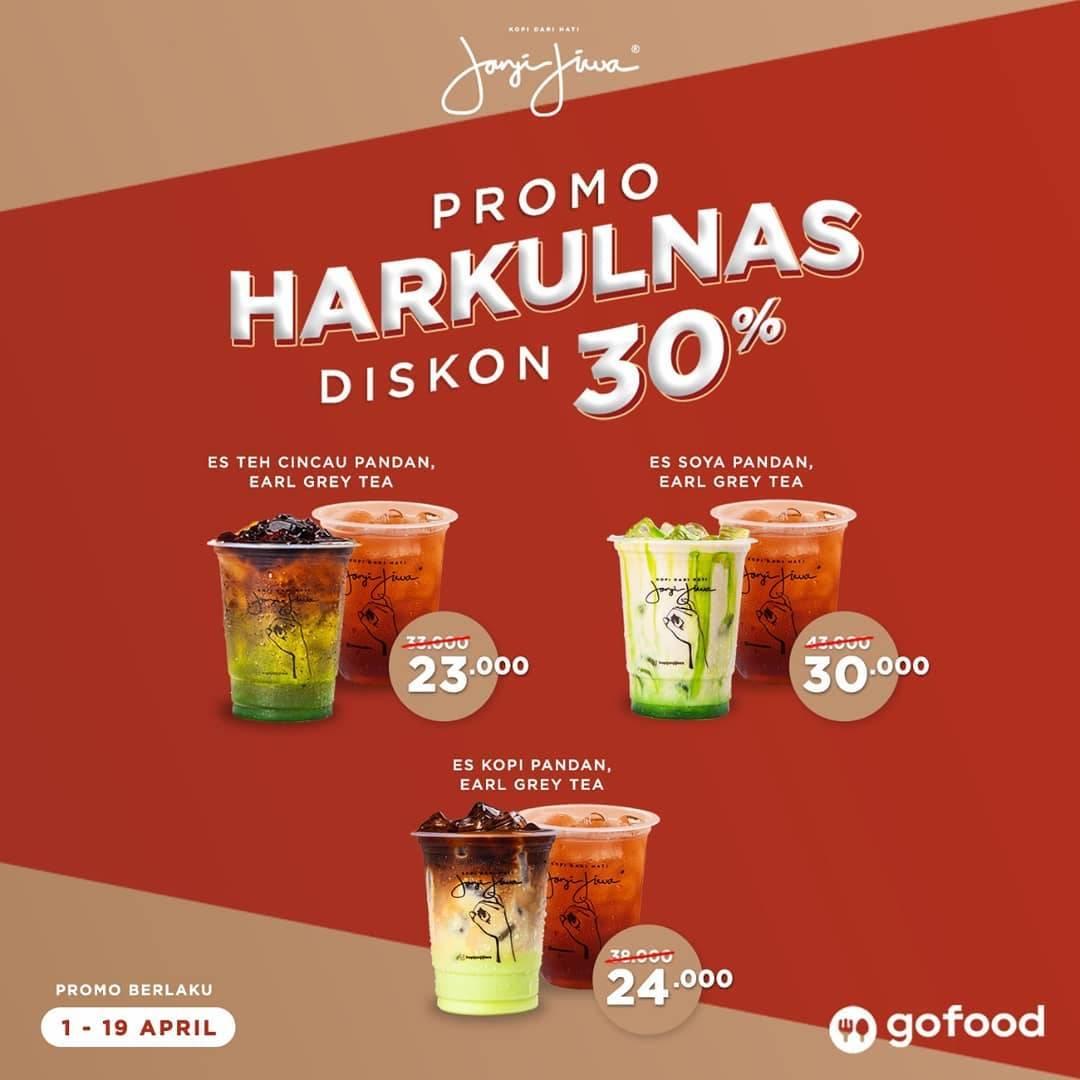 Kopi Janji Jiwa Promo Diskon 30% Di GoFood Untuk Earl Gray Tea & Pandan Series