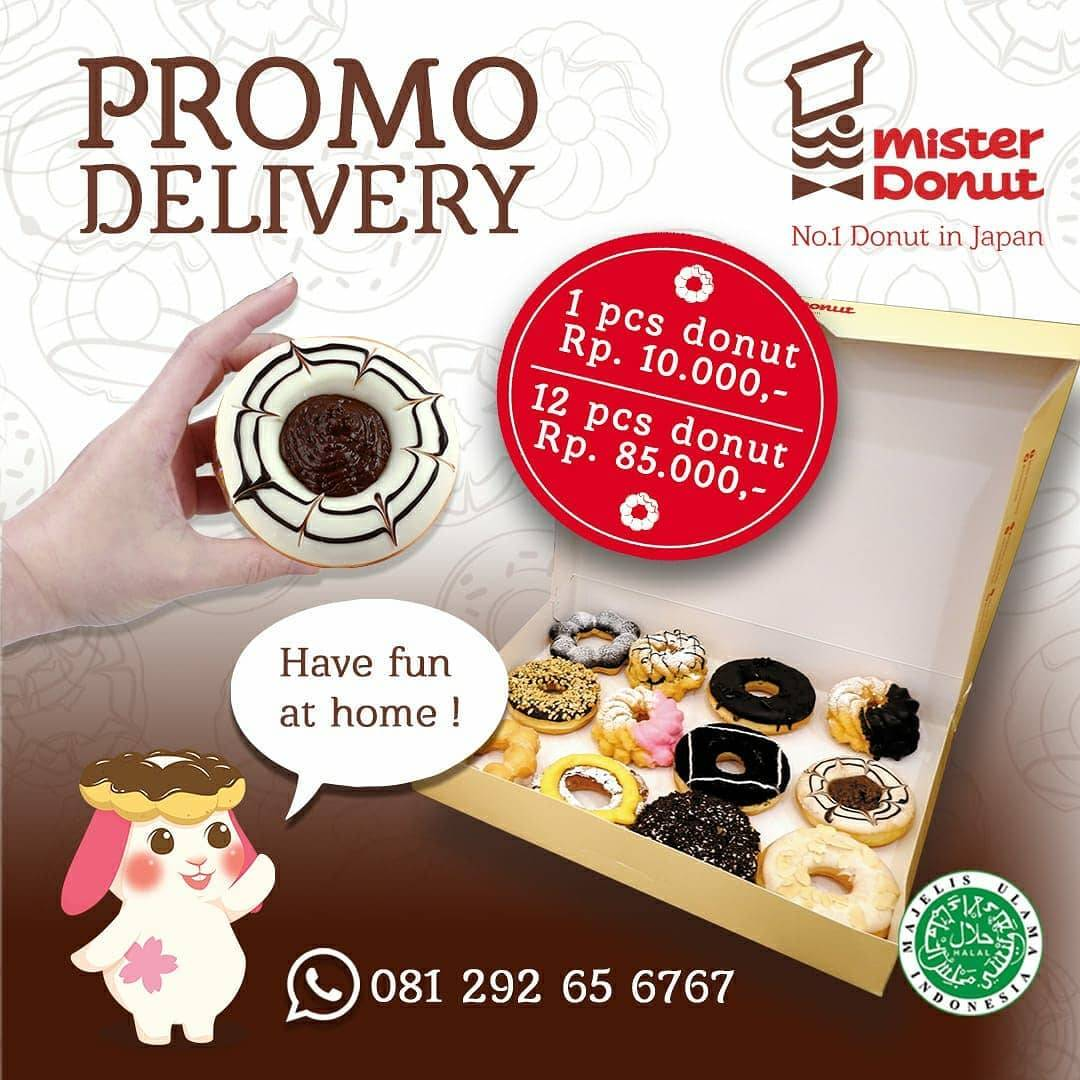 Mister Donut Promo Delivery, 12 Pcs Donut Hanya Rp. 85.000