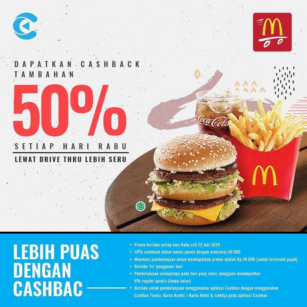 McDonalds Promo Cashback 50% Untuk Pembayaran Dengan Cashbac