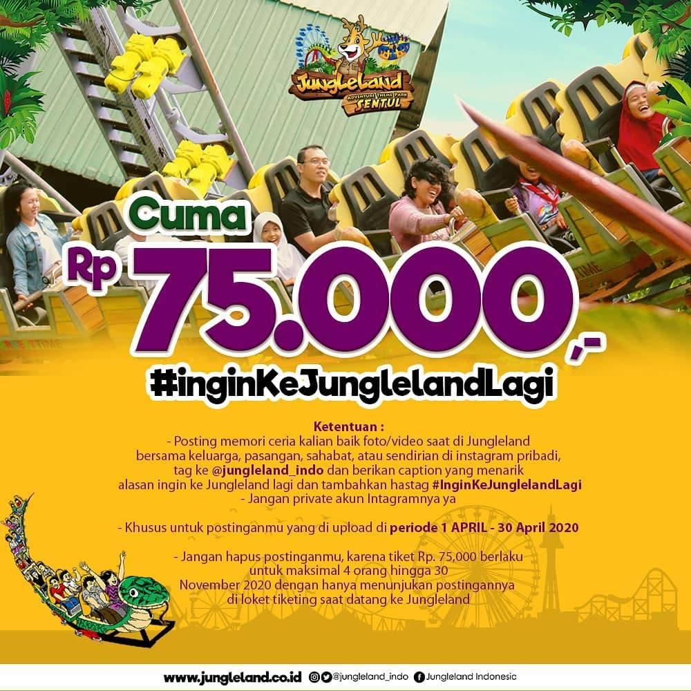 Diskon Jungleland Promo Ingin Ke Jungleland Lagi Cuma Bayar Rp. 75.000/Orang Untuk Tiket Masuk