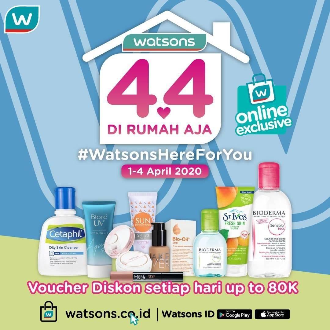 Watsons Promo 4.4 Di Rumah Aja, Diskon 50% Untuk Belanja Online Produk Pilihan