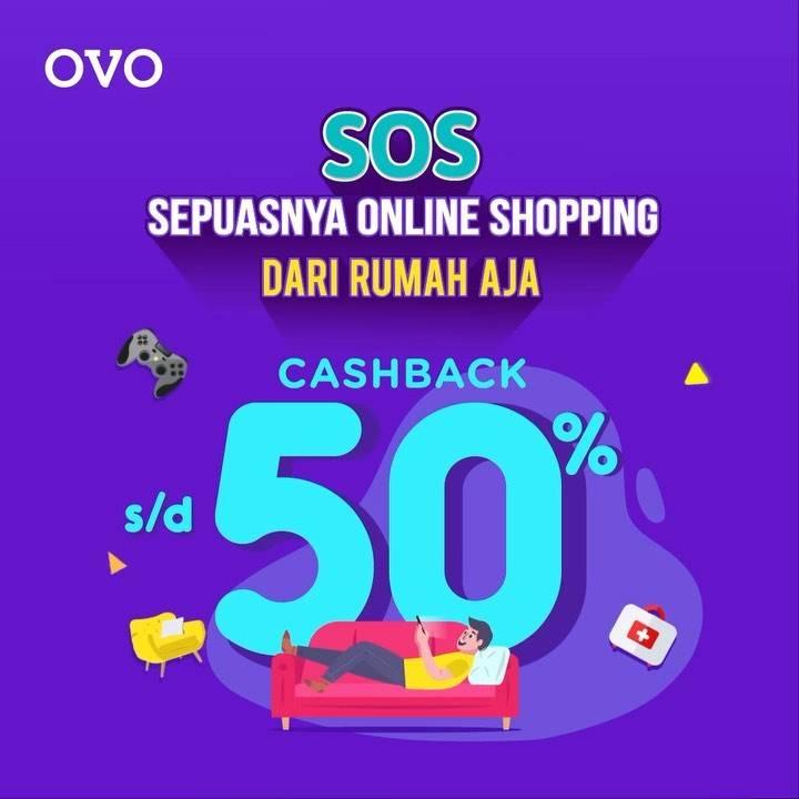 OVO Promo Sepuasnya Online Shopping, Cashback 50% Di Merchant-Merchant Partner OVO